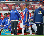 Guus Hiddink manager of Chelsea looks towards red carded John Terry of Chelsea as he walks off during the Barclays Premier League match at the Stadium of Light, Sunderland. Photo credit should read: Simon Bellis/Sportimage