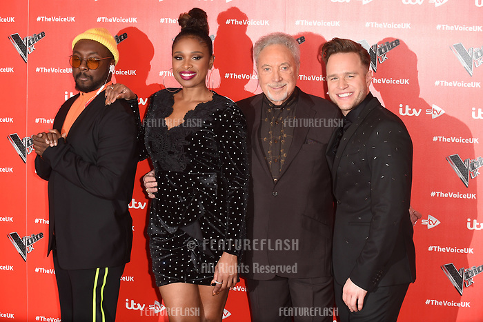 """LONDON, UK. January 03, 2019: Will.i.am, Jennifer Hudson, Sir Tom Jones & Olly Murs at the launch photocall for the 2019 series of """"The Voice"""" London.<br /> Picture: Steve Vas/Featureflash"""
