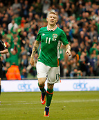 June 4th 2017, Aviva Stadium, Dublin, Ireland; International football friendly, Republic of Ireland versus Uruguay; James McClean celebrates scoring for Republic of Ireland in the 77th minute to give a 3-1 lead