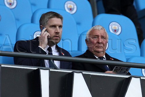 05.11.2016. Etihad Stadium, Manchester, England. Premier League Football. Manchester City versus Middlesbrough. Manchester City legend Mike Summerbee  with the match programme before kick off.