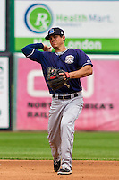 Lake County Captains infielder Sam Haggerty (4) throws to first base during a Midwest League game against the Wisconsin Timber Rattlers on July 24, 2016 at Fox Cities Stadium in Appleton, Wisconsin. Lake County defeated Wisconsin 6-2. (Brad Krause/Four Seam Images)