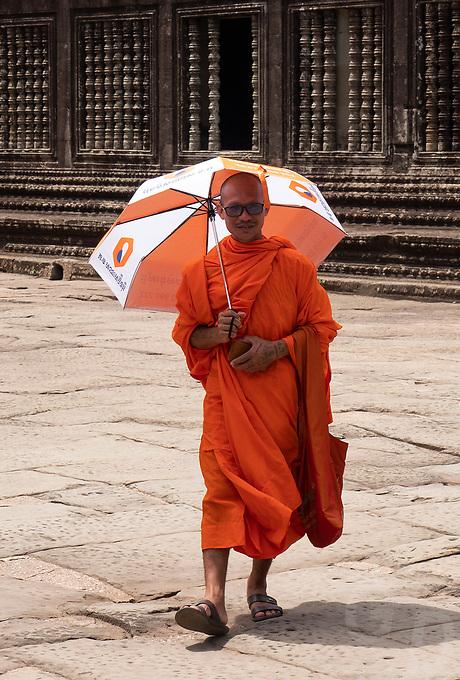 Buddhist Monks at Angkor Way, Cambodia,