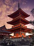 Sanjunoto pagoda, Kiyomizu-dera Buddhist temple in Kyoto. Traditional Japanese architecture. Beautiful dramatic sunrise scenery. Kyoto, Japan 2017.
