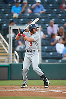 Brevard County Manatees second baseman George Iskenderian (7) at bat during a game against the Fort Myers Miracle on April 13, 2016 at Hammond Stadium in Fort Myers, Florida.  Fort Myers defeated Brevard County 3-0.  (Mike Janes/Four Seam Images)