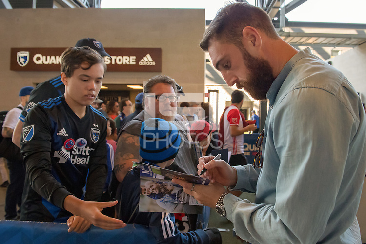 San Jose, CA - Thursday December 31, 2015: Chris Wehan, fans prior to a Major League Soccer (MLS) match between the San Jose Earthquakes and the Colorado Rapids at Avaya Stadium.