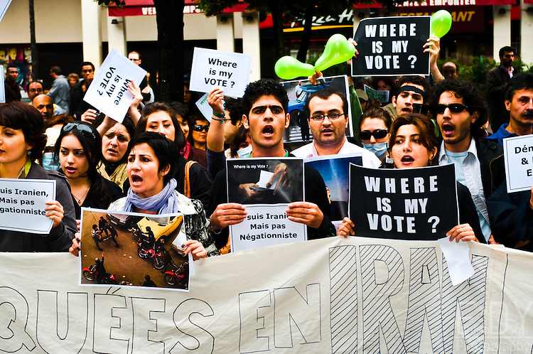 """Images from one of the protests held against the 2009 iranian presidential elections results. This protest was held at """"Place des innocents"""" in Paris (France) on june the 15th 2009."""