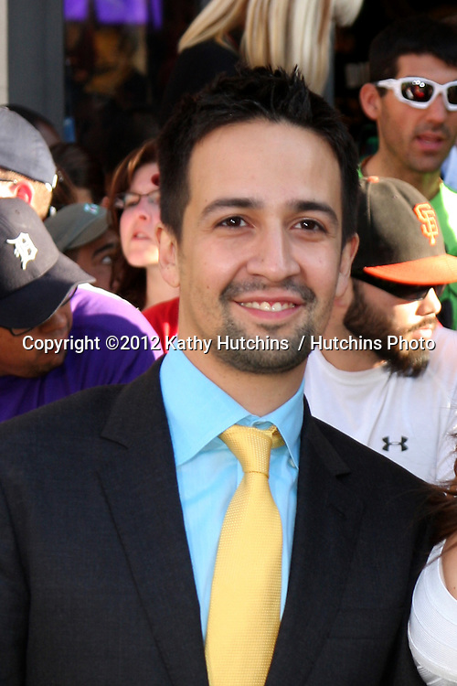 LOS ANGELES - AUG 6:  Lin-Manuel Miranda arriving at the World Premiere of  ?The Odd Life of Timothy Green?  at El Capitan Theater on August 6, 2012 in Los Angeles, CA