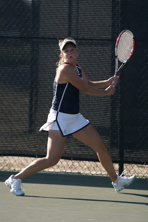 SAN DIEGO, CA - APRIL 18:  Milou Teeling of the USD Toreros during day two of the West Coast Conference Tennis Championships on April 18, 2009 at the Barnes Tennis Center in San Diego, California.