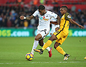 4th November 2017, Liberty Stadium, Swansea, Wales; EPL Premier League football, Swansea City versus Brighton and Hove Albion; Leroy Fer of Swansea City passes Jose Izquierdo of Brighton on the edge of the box