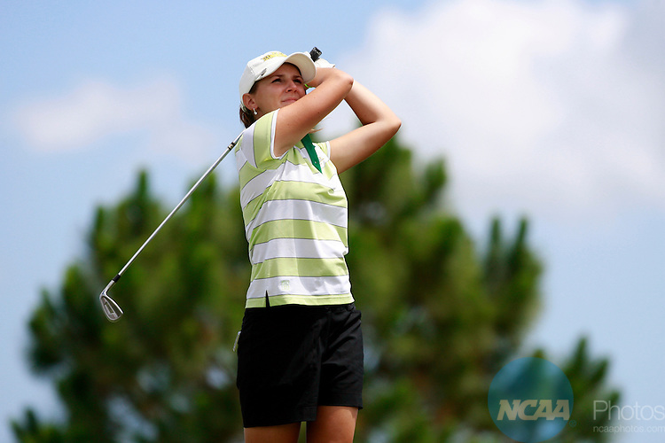 May 16, 2009:  Paige Caldwell of Methodist University tees off during the Division III Women's Golf Championship held at the PGA Golf Club in Port St. Lucie, FL.  Caldwell tied for 17th place.  Matt Marriott/NCAA Photos