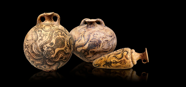 Minoan pottery with stylised octopus decorations, 1500-1400 BC, Heraklion Archaeological Museum, black background.  <br /> <br /> From Left to right<br /> 1- flask with Marine style stylised octopus design,   Palaikastro,  1500-1450 BC; <br /> 2.Minoan clay flask with octopus design, Speial Palatial Style , Pseira  1500-1400 BC BC, <br /> 3- conical rhython with Marine style stylised octopus design,   Palaikastro 1500-1450 BC;