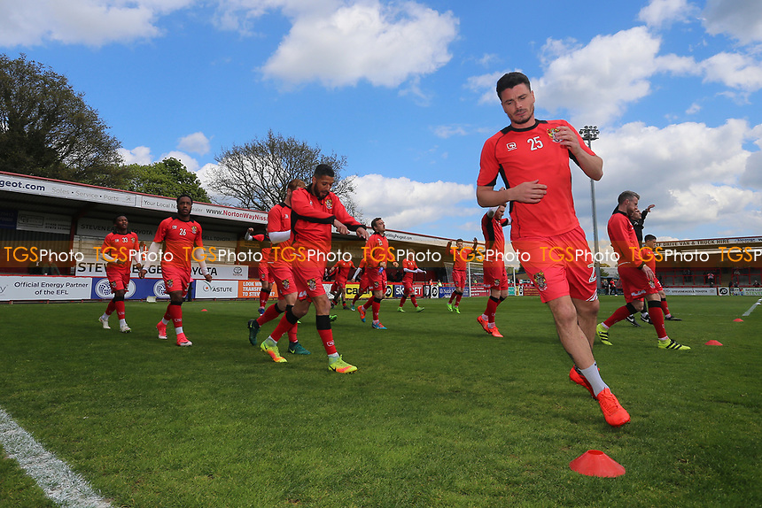 Stevenage players warm up during Stevenage vs Mansfield Town, Sky Bet EFL League 2 Football at the Lamex Stadium on 22nd April 2017