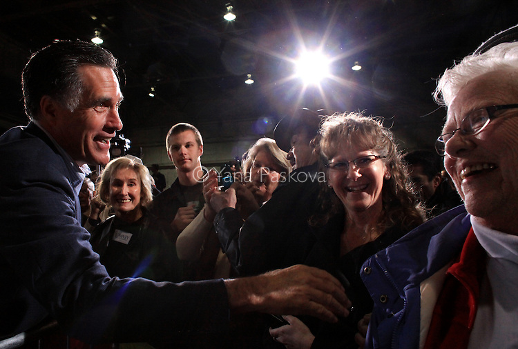 Republican Presidential candidate Mitt Romney (R-MA) greets the crowd after speaking at a rally at American Posts in Toledo, Ohio on Wednesday, February 29, 2012. (Photo by Yana Paskova for The New York Times)<br /> <br /> Assignment ID: 30121937A