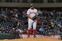 AFL East relief pitcher Darwinzon Hernandez (30), of the Mesa Solar Sox and Boston Red Sox organization, gets ready to deliver a pitch during the Arizona Fall League Fall Stars game at Surprise Stadium on November 3, 2018 in Surprise, Arizona. The AFL West defeated the AFL East 7-6 . (Zachary Lucy/Four Seam Images)