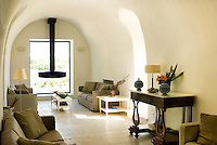 The contemporary living room features a modern fireplace suspended from a vaulted ceiling