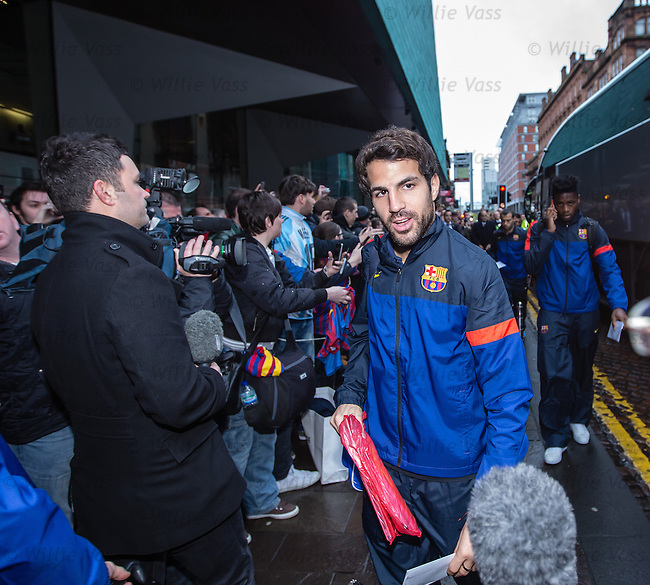 Cesc Fabregas arrives at Barcelona's city centre hotel