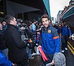 Cesc Fabregas arrives at Barcelona's city centre hotel