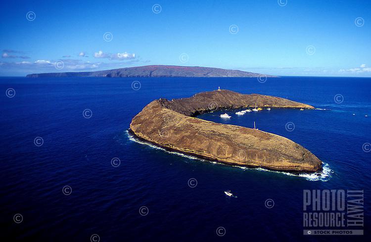 Aerial of Molokini Island, a crescent shaped atoll in Maalaea Bay, off the south coast of Maui