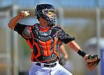 13 March 2012: Miami Marlins catcher Brett Hayes warms up prior to a Spring Training game against the Atlanta Braves at Roger Dean Stadium in Jupiter, Florida. The two teams battled to a 2-2 tie playing 10 innings of Grapefruit League action. Mandatory Credit: Ed Wolfstein Photo
