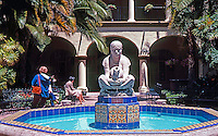 """San Diego: Balboa Park--Donal Hord Sculpture, Court of Foreign Arts Building. """"Woman of Tehuantepec."""" Photo '80."""