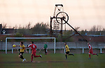 Walsall Wood FC 1 Atherstone Town 0, 02/05/2013. Oak Park, Midland Football Combination Premier Division. Action from the first-half at Oak Park, home to Walsall Wood FC with the memorial to the former colliery in Walsall Wood in the West Midlands pictured in the background during the club's match against Atherstone Town. The club were crowned champions of the Midland Football Combination premier division the previous night due to results elsewhere, their first league win in 61 years. Walsall Wood, who were formed in 1915, won the match 1-0 watched by 69 spectators. Photo by Colin McPherson.