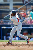 Portland Sea Dogs first baseman Josh Ockimey (29) follows through on a swing during the first game of a doubleheader against the Reading Fightin Phils on May 15, 2018 at FirstEnergy Stadium in Reading, Pennsylvania.  Portland defeated Reading 8-4.  (Mike Janes/Four Seam Images)