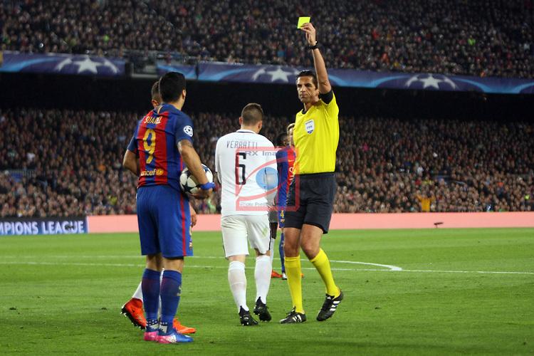 UEFA Champions League 2016/2017.<br /> Round of 16 2nd leg<br /> FC Barcelona vs Paris Saint-Germain: 6-1.<br /> Luis Suarez &amp; Deniz Aytekin.