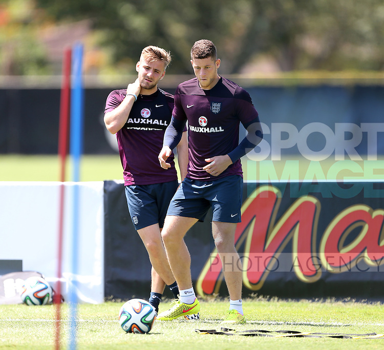 England's Ross Barkley and Luke Shaw in action during training<br /> <br /> England Training & Press Conference  - Barry University - Miami - USA - 06/06/2014  - Pic David Klein/Sportimage