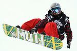 2011 FIS Snowboard World Cup  Championships , halfpipe qualification men's, La Molina. Picture show James Hanilton. NZL FIS SNOWBOARD WORLD CHAMPIONS LA MOLINA