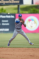 Lexington Legends shortstop Jeison Guzman (7) makes a throw to first base against the Kannapolis Intimidators at Kannapolis Intimidators Stadium on May 15, 2019 in Kannapolis, North Carolina. The Legends defeated the Intimidators 4-2. (Brian Westerholt/Four Seam Images)