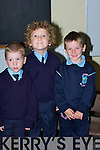 ENJOYED: John Davis, Odhran Pierce and Gavin Raggett who enjoyed their first day at Ardfert national School on Monday.