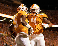 KNOXVILLE, TN - OCTOBER 5: Jauan Jennings #15 of the Tennessee Volunteers and teammate Dominick Wood-Anderson #4 celebrate a touchdown during a game between University of Georgia Bulldogs and University of Tennessee Volunteers at Neyland Stadium on October 5, 2019 in Knoxville, Tennessee.