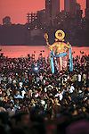 Asie, Inde du Sud, état du Maharashtra, Bombay (Mumbai), océan Indien, plage de Chowpatty, fête de Ganesh (Ganesh Chaturthi)//Asia, South India, Maharashtra state, Bombay (Mumbai), Indian ocean, Chowpatty beach, Ganesh Chaturthi festival
