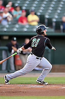 Kane County Cougars catcher Ben Carhart (21) at bat during a game against the Peoria Chiefs on June 2, 2014 at Dozer Park in Peoria, Illinois.  Peoria defeated Kane County 5-3.  (Mike Janes/Four Seam Images)