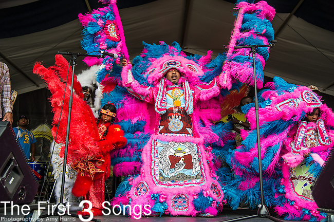 The White Cloud Hunters Mardi Gras Indians perform during the New Orleans Jazz & Heritage Festival in New Orleans, LA.