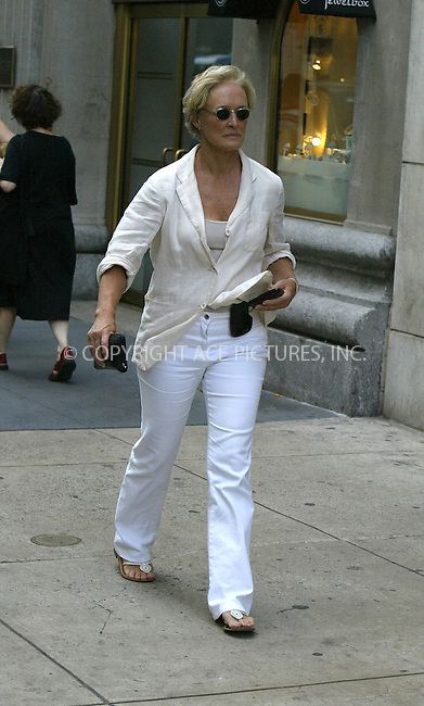 WWW.ACEPIXS.COM ** ** **EXCLUSIVE!!! FEE MUST BE NEGOTIATED BEFORE USE!!!....NEW YORK, JUNE 14, 2005....Glenn Close walks through midtown for a bit of shopping at Barneys New York.....Please byline: Philip Vaughan -- ACE PICTURES... *** ***  ..Ace Pictures, Inc:  ..Craig Ashby (212) 243-8787..e-mail: picturedesk@acepixs.com..web: http://www.acepixs.com