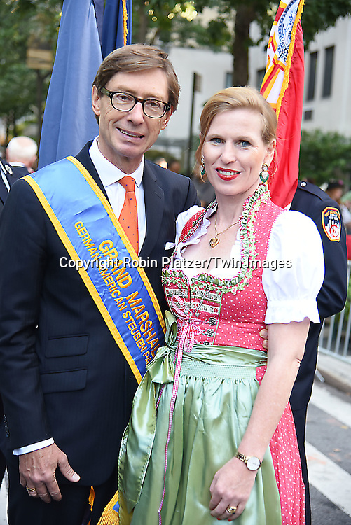 Grand Marshal German Ambassador Peter Wittig and wife attend the 59th German-American Steuben Parade on September 17, 2016 on Fifth Avenue in New York City, New York, USA. <br /> <br /> photo by Robin Platzer/Twin Images<br />  <br /> phone number 212-935-0770