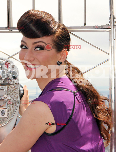 "Amy Heidemann and Nick_Noonan, the engaged musical duo who perform under the name Karmin promoting their album, ""Hello"" at the Empire State Building's 86th floor Observatory in New York, 22.05.2012...Credit: Rolf Mueller/face to face / Mediapunchinc"