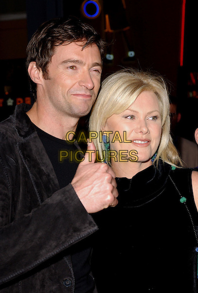 HUGH JACKMAN & DEBORRA-LEE FURNESS.Attending the world premiere of movie Van Helsing at The Universal City Walk in Universal City, California..May 3rd 2004.half length half-length smiling married wife thumb up gesture.*UK sales only*.www.capitalpictures.com.sales@capitalpictures.com.©Capital Pictures