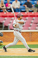 Jose Brizuela #53 of the Florida State Seminoles follows through on his swing against the Wake Forest Demon Deacons at Wake Forest Baseball Park on March 23, 2012 in Winston-Salem, North Carolina.  The game was suspended in the bottom of the 7th inning with the score tied at 4..(Brian Westerholt/Four Seam Images)