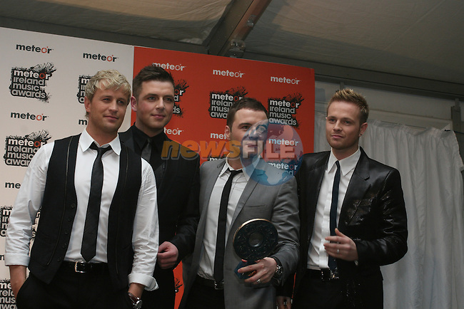 Boyzone, Best Irish Pop Actnat the 2008 Meteor Music Awards at the RDS, Simmonscourt...Photo NEWSFILE/Jenny Matthews.(Photo credit should read Jenny Matthews/NEWSFILE)....This Picture has been sent you under the condtions enclosed by:.Newsfile Ltd..The Studio,.Millmount Abbey,.Drogheda,.Co Meath..Ireland..Tel: +353(0)41-9871240.Fax: +353(0)41-9871260.GSM: +353(0)86-2500958.email: pictures@newsfile.ie.www.newsfile.ie.FTP: 193.120.102.198.