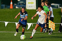 Kansas City, MO - Sunday August 28, 2016: Heather O'Reilly, Brooke Elby during a regular season National Women's Soccer League (NWSL) match between FC Kansas City and the Boston Breakers at Swope Soccer Village.