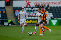 SWANSEA, WALES - APRIL 04:Wayne Routledge of Swansea City  in action  during the Premier League match between Swansea City and Hull City at Liberty Stadium on April 04, 2015 in Swansea, Wales.  (photo by Athena Pictures)