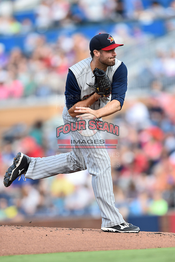 Toledo Mud Hens starting pitcher Robbie Ray #24 delivers a pitch during a game against the Durham Bulls at Durham Bulls Athletic Park on July 25, 2014 in Durham, North Carolina. The Mud Hens defeated the Bulls 5-3. (Tony Farlow/Four Seam Images)