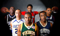 Portrait of the 2008 Cedar Run All-District boys basketball team. From left: Bryant Osei (Battlefield), Calvin Croskey (Osbourn Park), Jerrelle Benimon (Fauquier), Josh Mallory (Loudoun Valley), Eric Washington (Culpeper), and Stefawn Ross (Liberty). Shot 2-29-08 in Warrenton, VA.