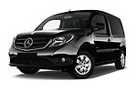 Stock pictures of low aggressive front three quarter view of 2017 Mercedes Benz Citan Perfect-Tool 5 Door Cargo Van Low Aggressive