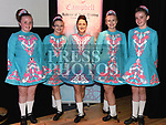 Megan McWeeney, Katie Harrison, Dana Campbell, Niamh Harrison and Roisin Keenan who took part in the Caroline Campbell Academy of Irish Dancing show in the Droichead Arts Centre. Photo:Colin Bell/pressphotos.ie