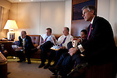 Aboard Air Force 1 - November 16, 2009 -- United States Ambassador to China Jon Huntsman, right, listens as U.S. President Barack Obama meets with advisors on Air Force Once. Pictured from left: NSC Senior Director for Asian Affairs Ambassador Jeff Bader, National Economic Council Director Larry Summers, Deputy National Security Advisor Tom Donilon and U.S. Permanent Representative to the United Nations Susan E. Rice, en route to Beijing, China, Monday, November 16, 2009. .Mandatory Credit: Pete Souza - White House via CNP