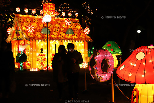 "November 19, 2017, Tokyo, Japan - Colorful lanterns and LED bulbs are illuminated at the Toshimaen amusement park in Tokyo on Sunday, November 19, 2017. The illumination called ""Winter Fantasia"" will be carried through February 25, 2018.     (Photo by Yoshio Tsunoda/AFLO) LWX -ytd-"