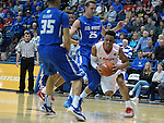 February 20, 2016 - Colorado Springs, Colorado, U.S. -   New Mexico guard, Elijah Brown #4, drives along the baseline during an NCAA basketball game between the University of New Mexico Lobos and the Air Force Academy Falcons at Clune Arena, United States Air Force Academy, Colorado Springs, Colorado.    Air Force defeats New Mexico 76-72.